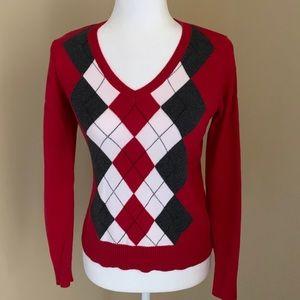 Izod Argyle V-Neck Argyle Sweater, Sz Petite M